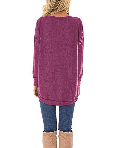 HIYIYEZI Summer Tops for Women Short Sleeve Side Split Casual Loose Tunic Top