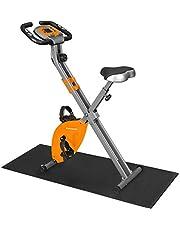 SONGMICS Hometrainer, fitnessfiets, inklapbare fitnessfiets, 8 magnetische weerstandsinstellingen, met vloermat, hartslagmeting, mobiele telefoonhouder, tot 100 kg belastbaar