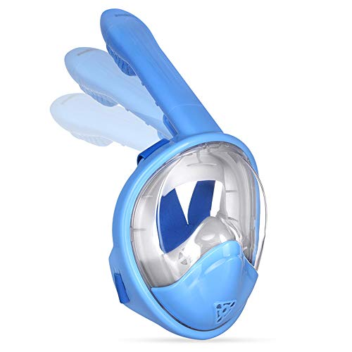 ZOUKFOX 180°View Panoramic Full face Snorkel Mask,with Anti-Fog Anti-Leak Snorkeling Design,See More Water World Larger Viewing Area (Kids Blue II, XS)