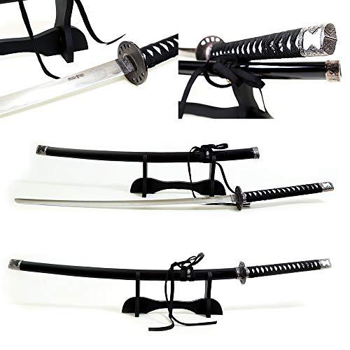 (Grand Way Katana - Japanese Katana Sword - Stainless Steel Samurai Katana Set with Stand - Decorative Full Tang Ninja Katana - Traditional Ronin Long Blade Sword Kit Black Case and Cord Handle 4123)