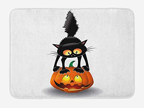 Halloween Bath Mat, Black Cat on Pumpkin Drawing Spooky Cartoon Characters Halloween Humor Art, Plush Bathroom Decor Mat with Non Slip Backing, 23.6 W X 15.7 W Inches, Orange -