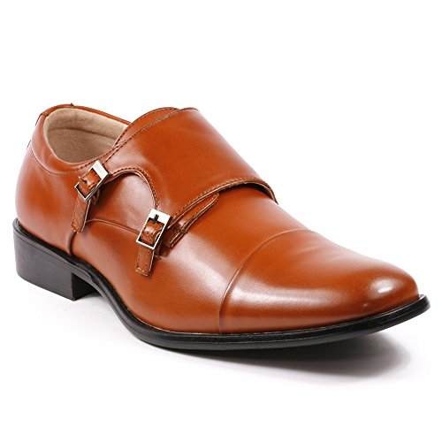 Magestik Men's Double Monk Strap Cap Toe Slip On Loafers Dress Shoes (12, Cognac Brown)