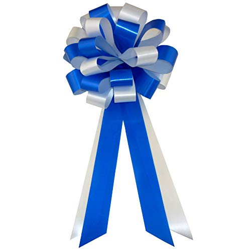 Pew Bows Wedding Satin - Royal Blue & White Wedding Pull Bows with Tails for Church Pews and Chairs - 8