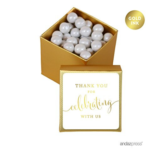 (Andaz Press Mini Square Party Favor Box DIY Kit, Thank You for Celebrating With Us, Gold, 20-Pack, For Birthday, Wedding Party Favors, Decorations, Similar to Gold)