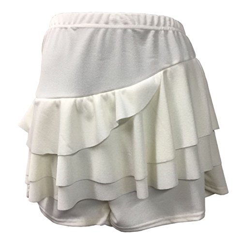 - Janisramone New Womens Plain Side Layered Ruffle Frill Crepe Rara Skorts Mini Skirts Shorts