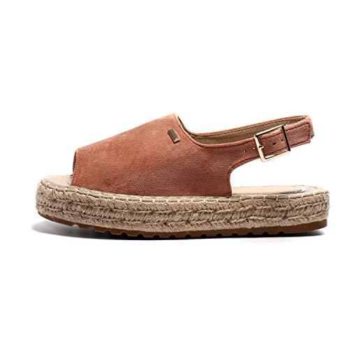 Alexis Leroy Women's Summer Open Toe Comfort Flat Espadrille Sandals Pink 6-6.5 M US