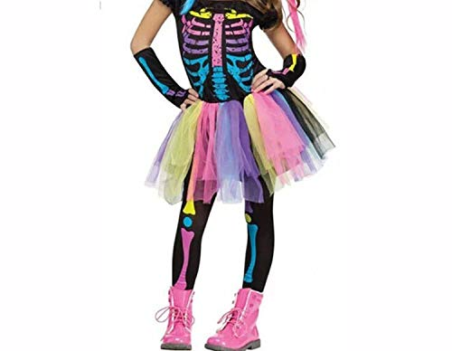 Halloween Party Skeleton Costume Rainbow Colorful Dress Horror Trousers Sleeve Covers Clothes,Style 1,XL