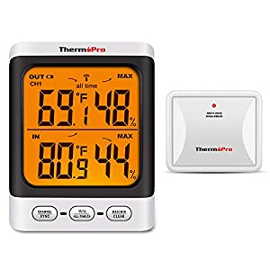 ThermoPro TP62 Digital Wireless Hygrometer Indoor Outdoor Thermometer Temperature and Humidity Gauge Monitor with Backlight LCD Display Humidity Meter, 200ft/60m Range Patio, Lawn and Garden