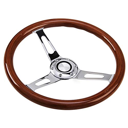 - Hodenn380mm 14inch Wood Steering Wheel with Horn Kit Fit forChevy Classic