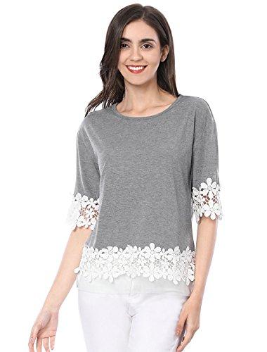 Allegra K Women's Half Sleeve Drop Shoulder Lace Trim T Shirt S Gray
