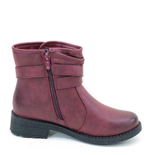 Distressed Spenne Flat Ankel Tilfeldige Kvinner Vegansk Støvler