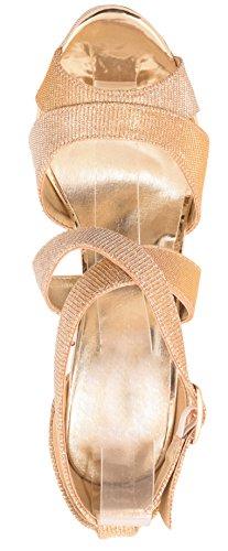 Tacón Gold Stiletto Pumps Party Zapatos 2 Correas Con De Brillantes Plateau Elara HxSvvwfq5
