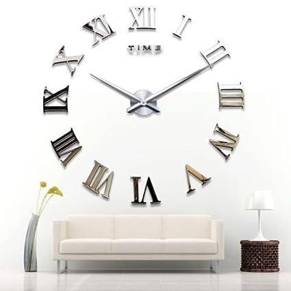 Yosoo - Reloj de pared gigante, diseño moderno con números romanos, 3D, para