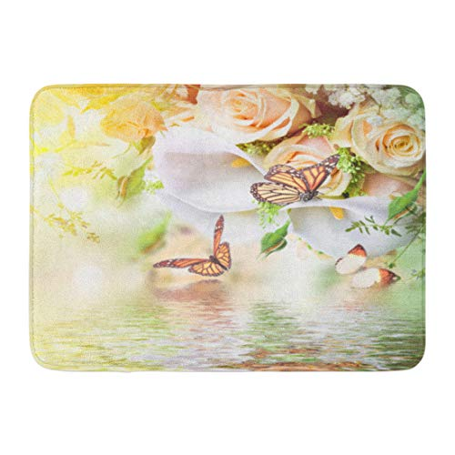 Calla Lilies Bordered (Emvency Doormats Bath Rugs Outdoor/Indoor Door Mat Green Beautiful Bouquet for The Bride of Yellow Roses and White Calla Lilies Butterfly Pink Beauty Bathroom Decor Rug 16