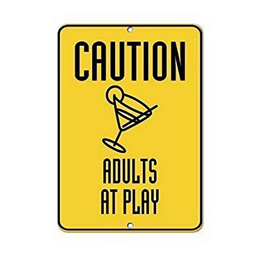 Traffic Sign Posters - TEcell Caution Adults at Play Traffic Sign,Home,House,Pub Funny Coffee Wall Retro Metal Sign 8x12