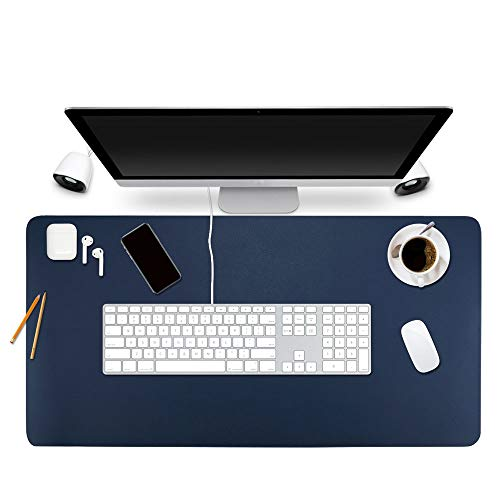 """BUBM Desk Pad Protector 35"""" x 18"""", PU Leather Desk Mat Blotters Organizer with Comfortable Writing Surface(Dark Blue)"""