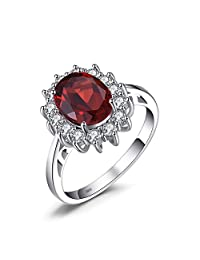 JewelryPalace Water Drop 4.9ct Created Red Ruby Anniversary Promise Ring 925 Sterling Silver