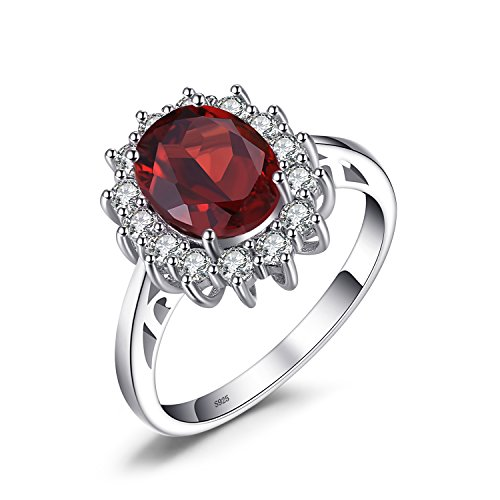 JewelryPalace Kate Princess Diana 2.5ct Natural Garnet Halo Engagement Ring 925 Sterling Sliver Size 7 - Engagement Garnet Ring