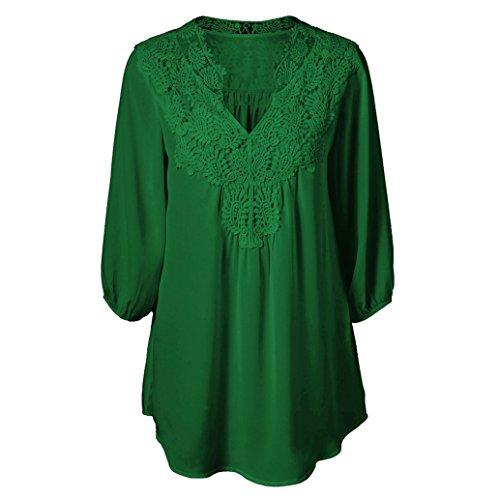 33e48616dd74ef Freizeithemd Elegant Blusen für Frauen - V Ausschnitt Lange Ärmel Tops  Bluse Einfarbig Loose Fit Patchwork