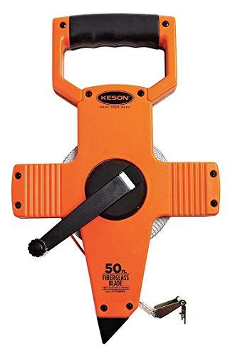Keson OTR18M50 Open Reel Fiberglass Tape Measure Reel with Double Hook (Graduations: ft, in, 1/8 & m, cm, 2mm), 15M/50-Foot