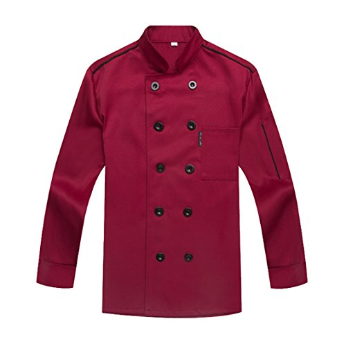 WAIWAIZUI Chef Coat Chef Jacket Service Uniform Long Sleeves Purple Size XL (Label:4XL) (Waiter Coat)