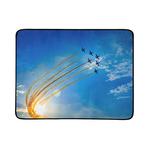 LIANPEN Small Folding Blanket Aircraft Fighter Jets Baby Blanket Beach Waterproof Blanket Mat 60x78 Inch Medium Beach Blanket Big Beach Blanket