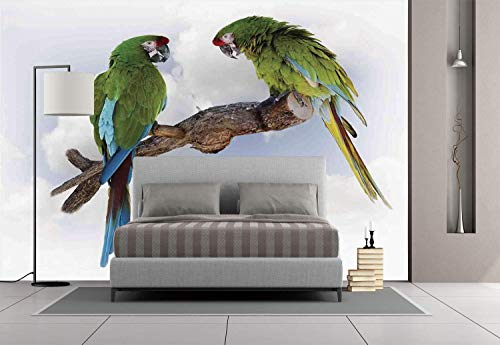 Funky Wall Mural Sticker [ Parrots Decor,Two Parrot Macaw on a Branch Talking Birds Gifted Clever Creatures of the Nature,Green White Brown ] Self-adhesive Vinyl Wallpaper / Removable Modern Decoratin -
