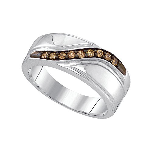 Sonia Jewels Size 8-925 Sterling Silver Mens Round Chocolate Brown Diamond Band Wedding Anniversary Ring (1/4 Cttw) Chocolate Diamond Wedding Bands