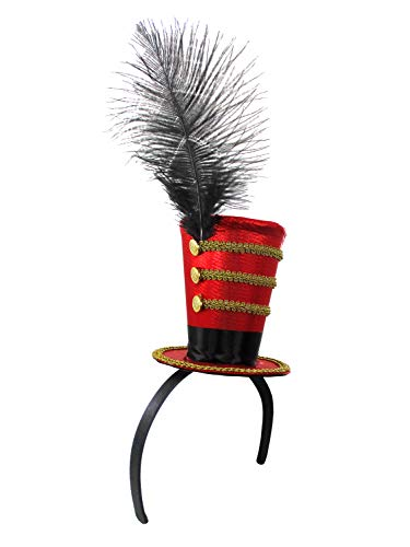 Deluxe Ring Master Mini Top Hat on Headband, Red/Black/Gold, One -