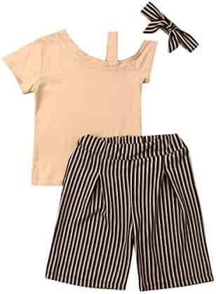 04ca5b41c Toddler Kids Girls Cute Off Shoulder Solid T-Shirt Top+Stripe Short Pants  Trousers