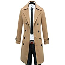Benibos Men's Trench Coat Winter Long Jacket Double Breasted Overcoat