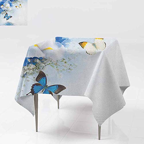 - AndyTours Spillproof Tablecloth,Floral,Blue and White Wild Flowers with Monarch Butterflies Lily Therapy Zen Spa Art Prints,Great for Buffet Table, Parties& More,60x60 InchPale Blue