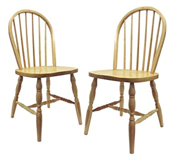 Elegant Winsome Wood Windsor Chair With Natural Finish, Set Of 2