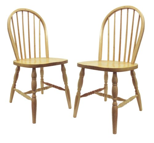 Winsome Wood Windsor Chair with Natural Finish, Set of 2 - Beechwood Fan Back Chair