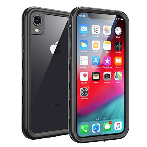 iPhone XR Waterproof Case, Fansteck IP68 Waterproof/Snowproof/Shockproof/Dirtproof, Full-Body Protective Case with Built-in Screen Protector (Black)