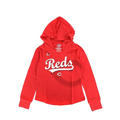 Outerstuff Cincinnati Reds Majestic MLB Girls Red Quick Pitch Hooded Long Sleeve T-Shirt - Majestic Athletic Red Long Sleeve Shirt