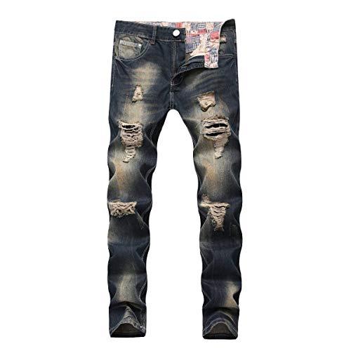 E Blu In Con Vita Uomo Rilassati A Da Casual Jeans Pantaloni Haidean Strappo Dritti Media Slim Zip Moderna Denim Vintage 5YqHPnxO