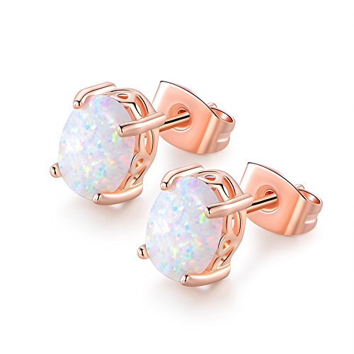 VOLUKA Synthetic 6 x 8mm Oval Opal Stud Earrings with Rose Gold Plated for Women (Boulder Opal Earrings)