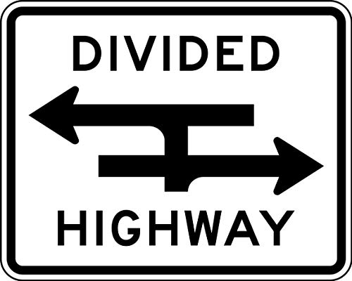 Traffic Signs - Divided Highway Crossing T Intersection 10 x 7 Aluminum Sign Street Weather Approved Sign 0.04 Thickness