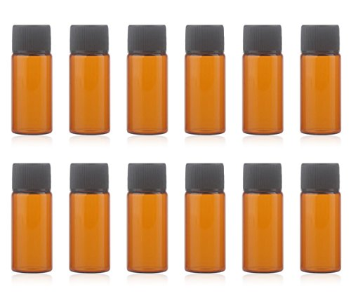 12 Pack Set Brown Screw Cap Glass Bottle Small Mini Empty Oil Amber Vial ()