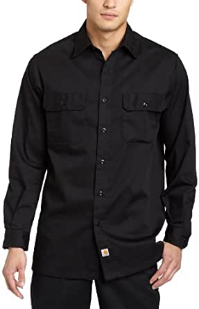 Carhartt Men's Big & Tall Twill Long Sleeve Relaxed Fit Work Shirt Button Front,Black,Large Tall
