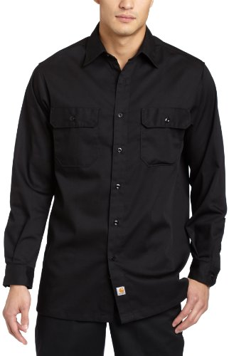Carhartt Big And Tall Work Shirt - Carhartt Men's Big & Tall Twill Long Sleeve Relaxed Fit Work Shirt Button Front,Black,XX-Large Tall