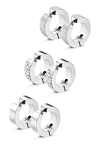 Jstyle 3 Pairs Stainless Steel Mens Womens Hoop Earrings Clip On CZ Non-Piercing S