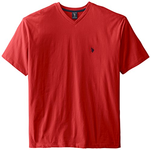 U.S. Polo Assn. Men's Big-Tall V-Neck Short Sleeve T-Shirt, Engine Red, 4X (Big And Tall Mens Clothing V Neck)