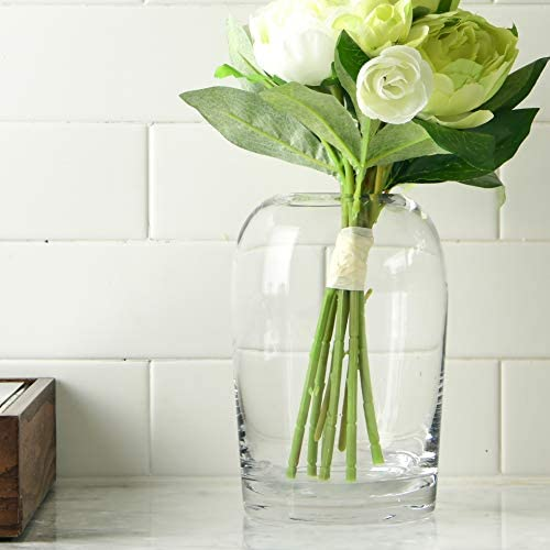 S1EGAN Glass Vase European Design 7.5 Inch Hand Blown Clear Glass with Gold Rim for Centerpiece Clear, 7.5 Inch Events and Living Room Office Decoration