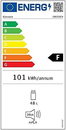 Klarstein Solve – mininevera, minibar, enfriado termoeléctrico, regulador mecánico, enfriado de 0 a 10 °C, eficiencia energética F, 48 litros de capacidad, negro[Clase de eficiencia energética F]