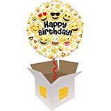 InterBalloon Helium Inflated Emoji Birthday With Circles Balloon Delivered In A Box