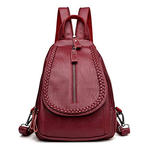 APHISONUK Leather Backpack Ladies Fashion Rucksack Casual Daypack Leisure School Bag for Girls(3881)/Red Red