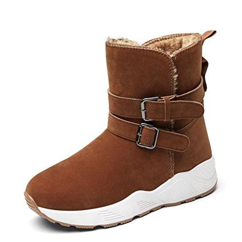 Femme Hiver Suede Tube bas Fond épais Antidérapant Bottes de neige Garde au chaud Bottines / Chaussures en coton , Brown , 39