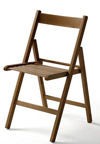Juego de 4 sillas plegables, en madera de nogal: Amazon.es ...